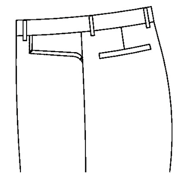 3135 - Gerundete Jeanstasche