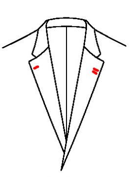 0540 - 2 Knopflöcher links 1 Knopfloch rechts