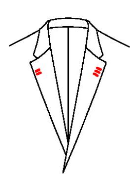 0549 - 3 Knopflöcher links 2 Knopflöcher rechts