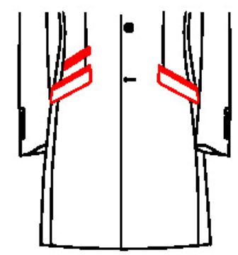 62B3 - Schräge Pattentaschen mit paspelierter Tickettasche