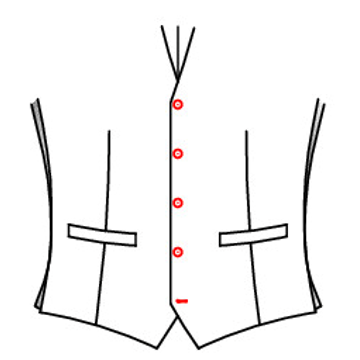 401G - Einreihig 5 Knöpfe ( Standard )