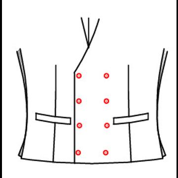 401L - Zweireihig 8 Knöpfe 4 Schließknöpfe