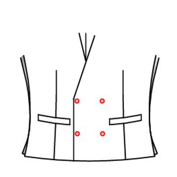 401M - Zweireihig 4 Knöpfe 2 Schließknöpfe